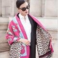 Cachecol de inverno 2015 cachecol leopardo impressão dupla face pashmina moda lenços tasselwool camada super grande cachecol quente