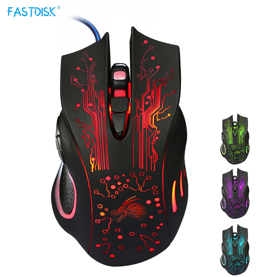 FASTDISK Gaming Mouse 6 Buttons Professional PC Laptop Computer Mouse Gamer Mice Changeable Light 5000dpi USB Optical Mouse