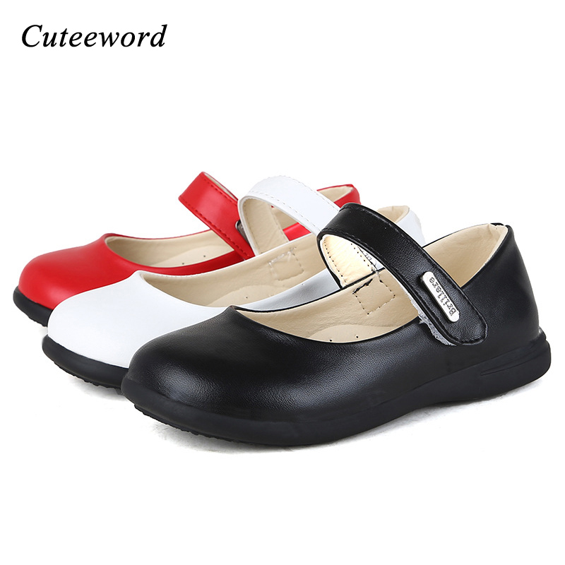 Children Dance Shoes Black Red White Girls Leather Shoes Soft Toddler Casual Party Princess Shoes 2019 Spring Autumn Kids 22-36