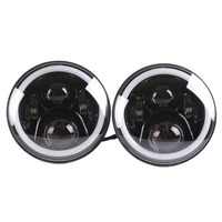 2pcs 7inch 7 LED Headlight With DRL HIGH LOW BEAM H4 To H13 Adapter Fog Light