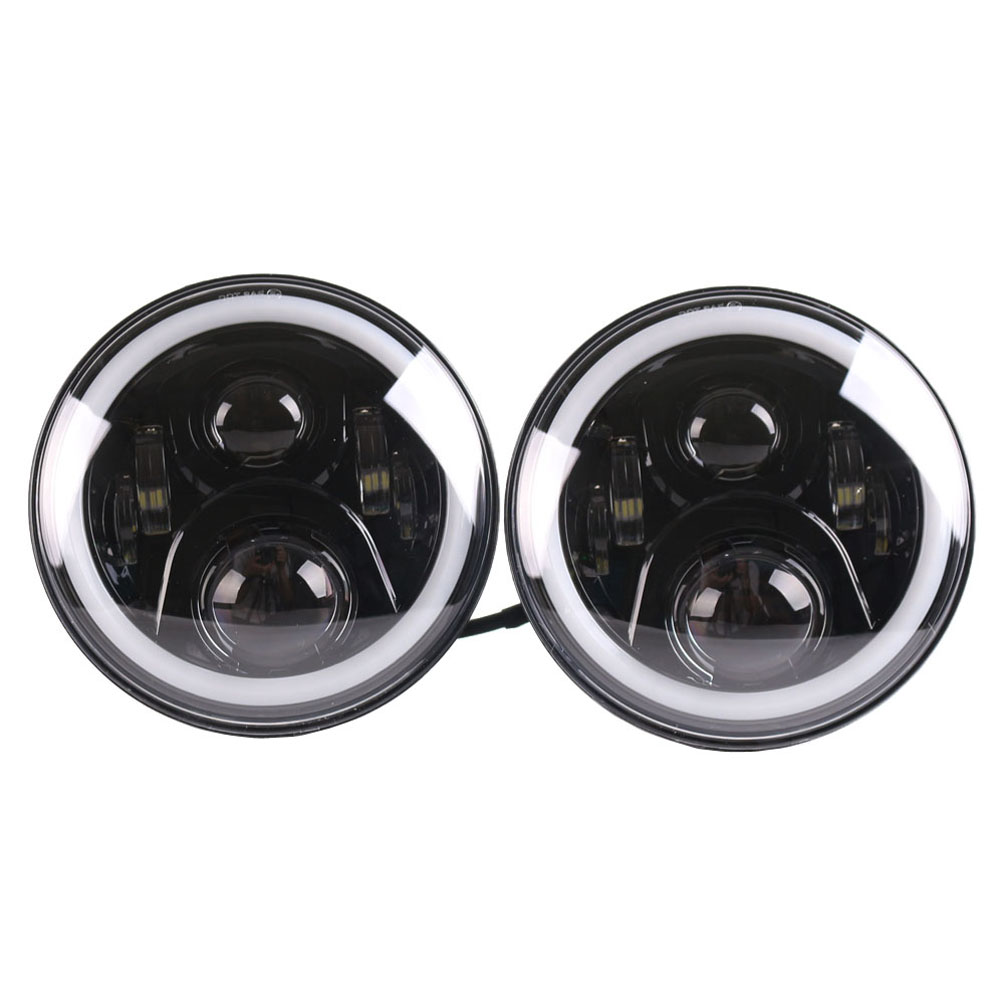 2pcs 7inch  7 LED Headlight With DRL HIGH LOW BEAM h4 to H13 Adapter Fog light For JK Wrangler Patriot Liberty H1 H2 FJ Cruiser tsleen 2 4 8pieces h4 led auto car headlight fog drl rear xenon lamps high low beam light automobiles lamp white 6000k bulb