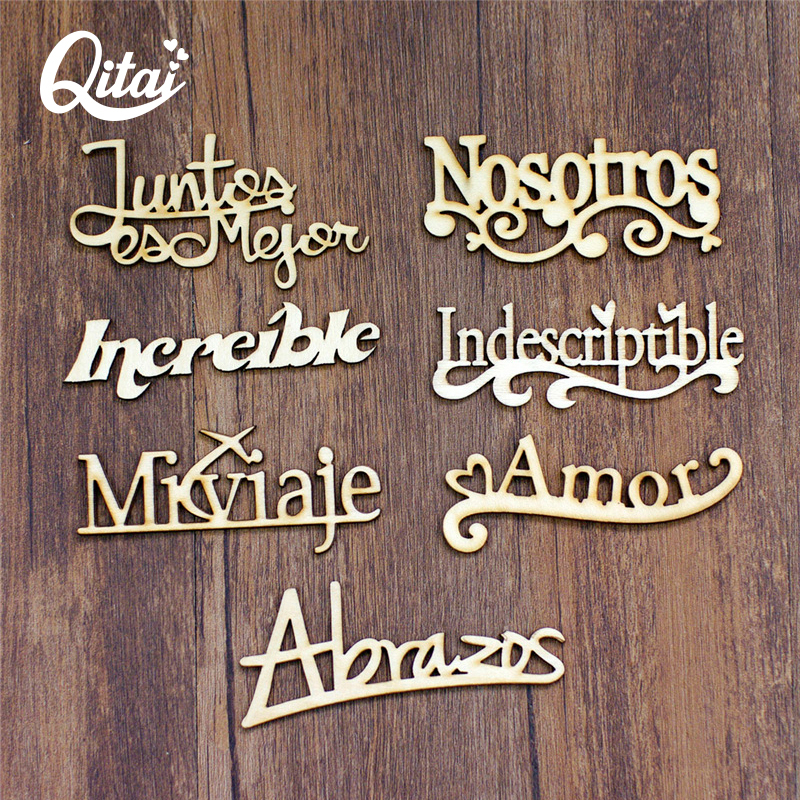 QITAI 21PCS / SET 7 Модел Испански Думи занаяти Направи сам подарък дърво Испания Букви Декорация Креативност Дървени думи Декор Комплект WF265