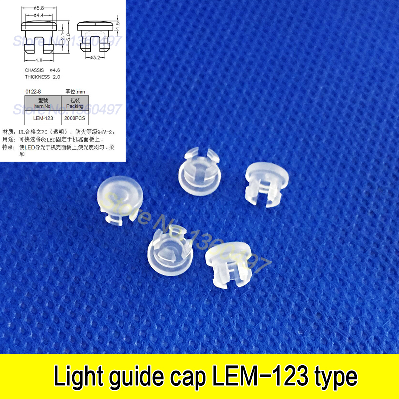 10pcs LEM123 Light Emitting Diode Protective Cover 3MM Luminous Cap Led Transparent Lamp Cap