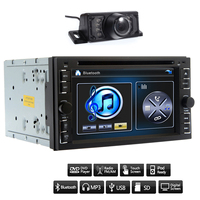 6.2'' Double 2DIN Car Stereo DVD Player Rearview USB SD Bluetooth FM Radio Aux USB SD Autoradio Stereo Analog TV+Free Camera