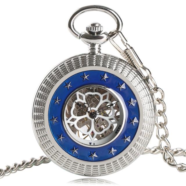 Silver Pocket Watch Mechanical Watch Hand Wind Movement Chain Half Hunter Steampunk Clock Star Design Relogio De Bolos Xmas Gift