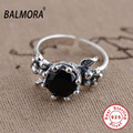 New 100% Real 925 Sterling Silver Jewelry Black Agate Rings for Women Lover Party Wedding Jewelry Fashion Ring Best Gift SY21009