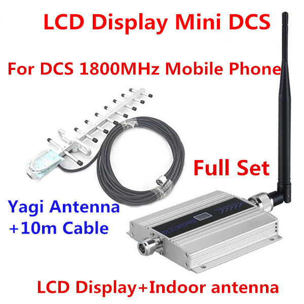 Full Set Family LCD DCS GSM Repeater 1800MHz Mobile Phone Signal Booster Repeater Amplifier With Indoor Antenna + Yagi Antenna