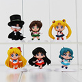 6pcs/lot Sailor Moon Canina Naruto One Piece Saint Seiya Digimon PVC Figures Doll Model Toys Children Toy Gifts 4.5-5.5cm