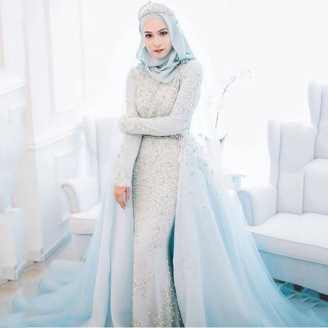 Luxury Powder Blue Muslim Wedding Dress 2017 Beaded Crystal Pearls Tiffany Formal Gowns