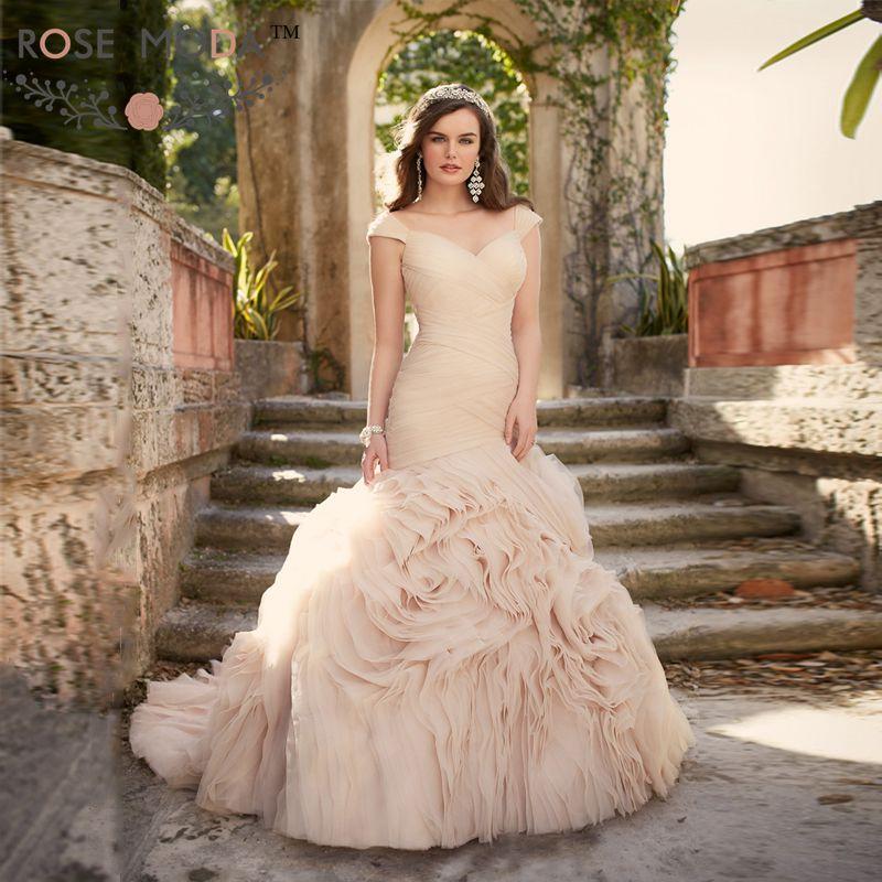 Cap Sleeves V Neck Ruffled Organza Trumpet Wedding Dress