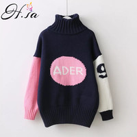 H.SA Winter Autumn Pullover and Sweaters Turtleneck Sweater Jumpers Patchwork Pull Femme Letters Casual tricot Pull Femme 2017