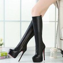 16CM High Height Sex boots Women's Heels Platform Stiletto Heel  Knee-High Boots No.A-9