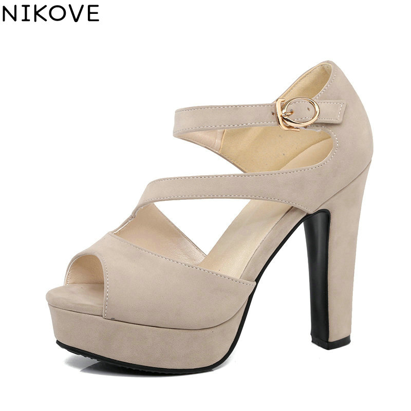 NIKOVE <font><b>2017</b></font> Buckle Strap <font><b>High</b></font> Heel Woman Pumps <font><b>Sexy</b></font> Peep Toe Gladiator Summer Women Shoes Platfrom Wedding Shoes Big Size 34-43 image