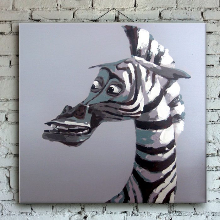 Abstract Modern Black And White Zebra Horse Handmade Oil Painting By Knife For Home Office Decoration In Calligraphy From Garden On