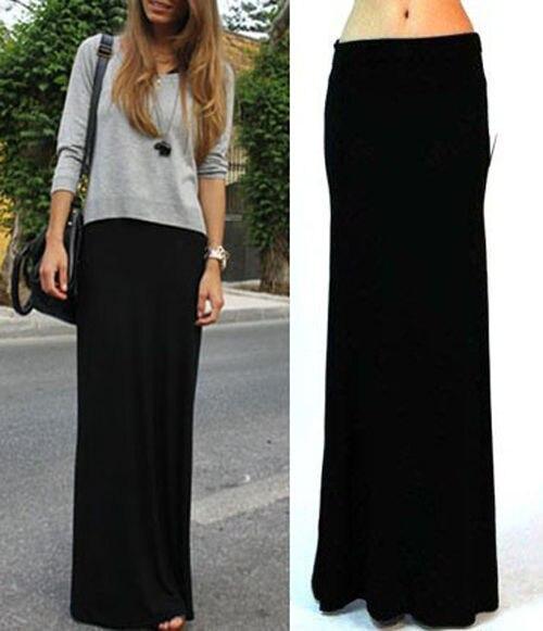 Aliexpress.com  Comprar WBCTW 6XL 7XL 2018 faldas largas de Modal Falda  grande talla grande negro pliegue sobre cintura alta hasta el suelo Jersey  larga ... f4e2016c95bb