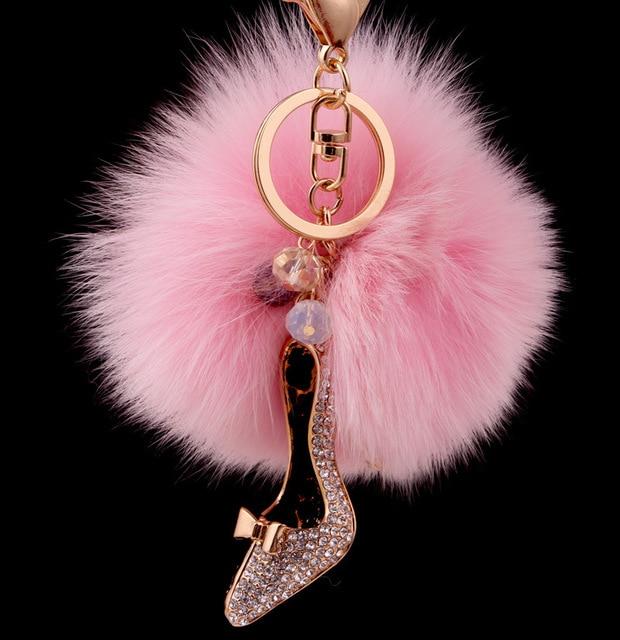 Туфли на высоком каблуке продажа-обувь металлический брелок розовый 8 см лиса волосяная луковица меха плюшевые пом англичане бал-оберточной мешок для автомобильных украшений подвеска брелок для BMW
