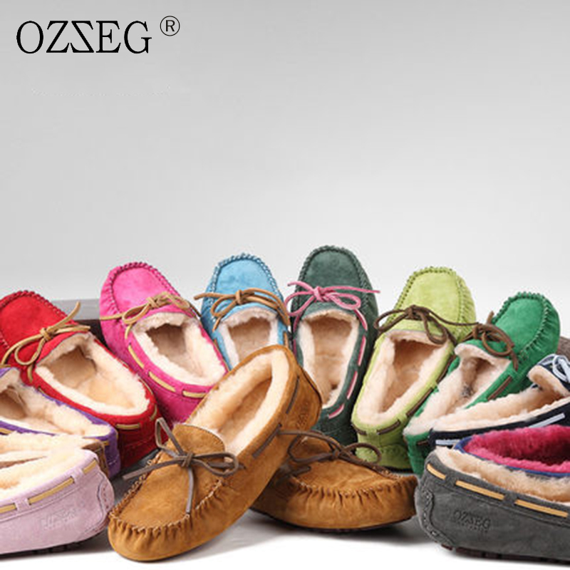Green Genuine leather Female winter warm with lined real wool fur Moccasins Flats soft Com
