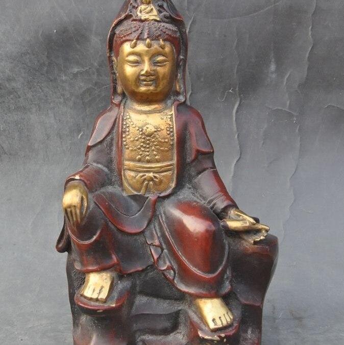 10chinese buddhism Joss bronze gilt Guanyin Bodhisattva Kwan-yin goddess statue10chinese buddhism Joss bronze gilt Guanyin Bodhisattva Kwan-yin goddess statue