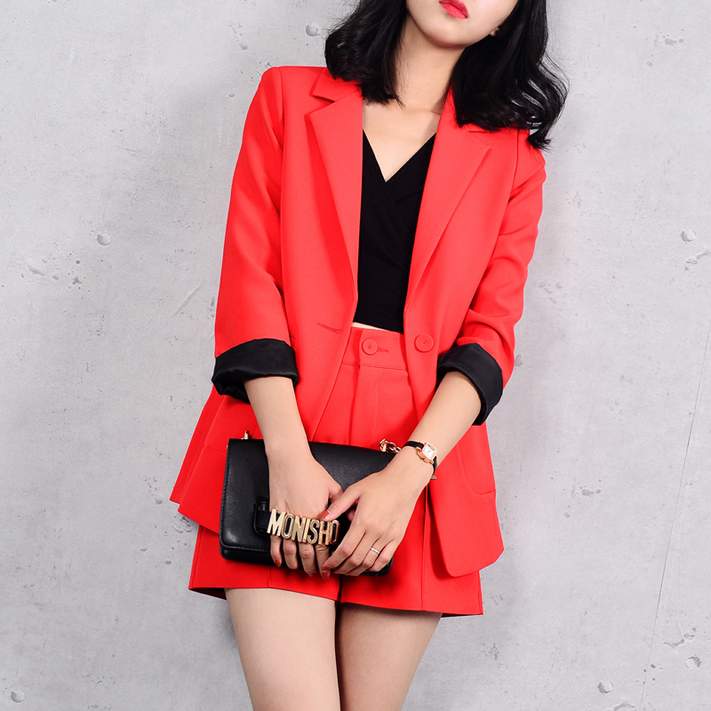 Fashion suit female OL professional spring new Korean Slim small suit high waist was thin shorts two sets