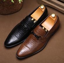 Clássica Homens Apontou Dedos de Couro Real de Alta Qualidade Sapatos Casuais Hombre Embossing Tecelagem Juventude Respirável Sapatos de Trabalho de Escritório