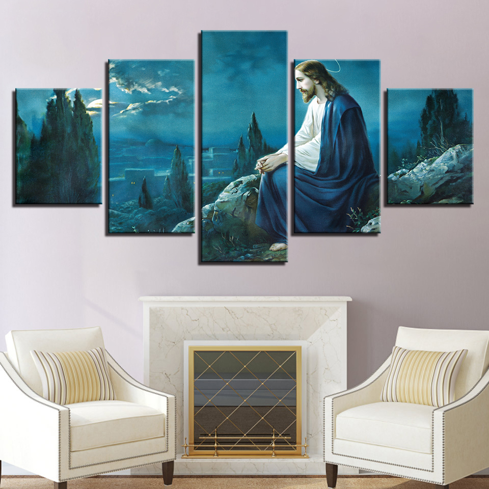 Us 5 61 40 offmodern home decor canvas printed painting 5 panel jesus framed abstract wall art for living room modular picture poster in painting