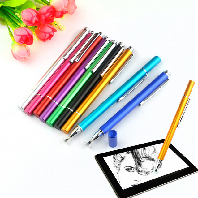 1PCS Brand New 9 Color 12.5cm Metal Fine Point Round Thin Tip Capacitive Stylus Pen For iPad 2/3/4/5/air/mini For Amazon Tablet