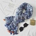 Invierno A Cuadros de Gran Tamaño Bufandas Nuevo Diseño Para Damas de Algodón de Estilo Nacional Chino Azul y Blanco de Las Mujeres Muchachas Del Mantón de la Bufanda