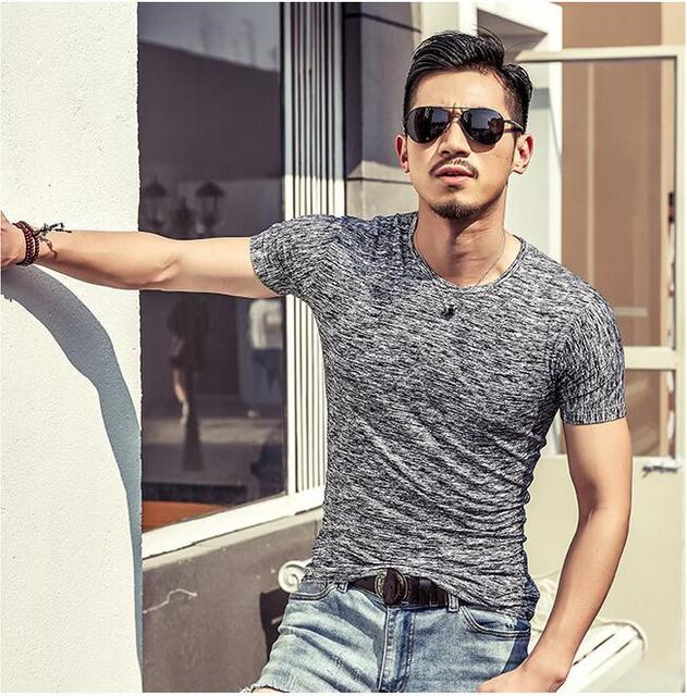 666b98abd4bb New 2019 Summer Men T-shirt Fashion Slim short-sleeved T-shirt Men s trend  Sexy casual Men s T-shirt Korea T-shirt cotton