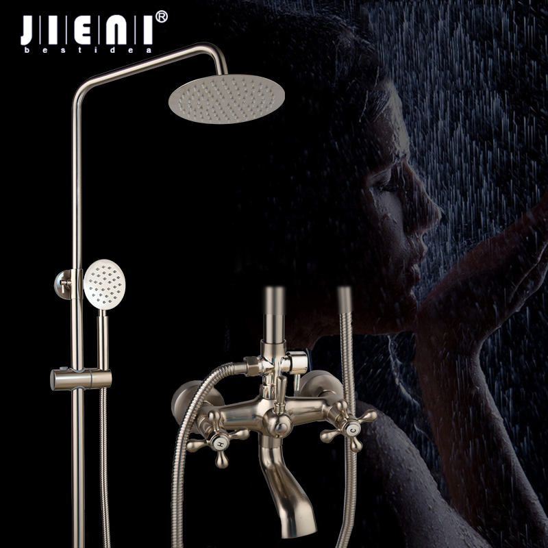 JIENI 8 Inch Nickel Brushed Wall Mount Shower Faucet Mixer Tap 3 FunctionS Rain Shower Head Handheld Spray Bathroom Shower Set цены