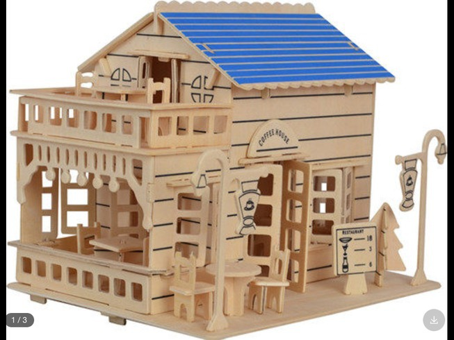 3d Assembly Model Building Kits Coffee Shop Model House Model Woodcraft Construction Kit Educational Toy