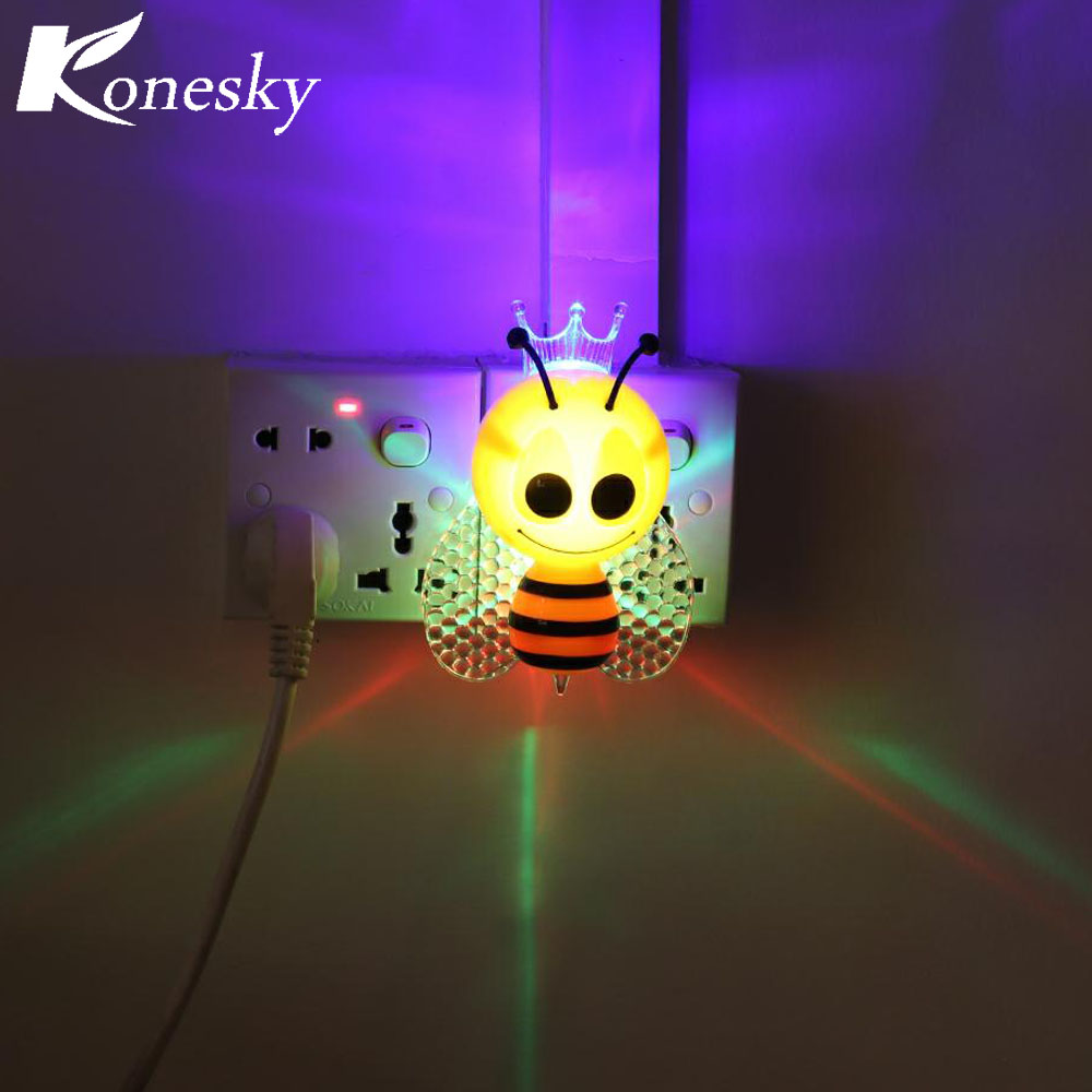 Sensor Light Cartoon Bee LED Night Cute Colorful Bedside Lights For Baby Bedroom Childrens Gifts EU Plug In From Lighting