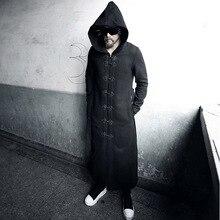 Зимняя Куртка Мода Harajuku Мужчины Шерстяной Пояс Пальто Марка прохладный Готический Одежда Черный Дополнительные Длинные Мужские Бушлат С капот