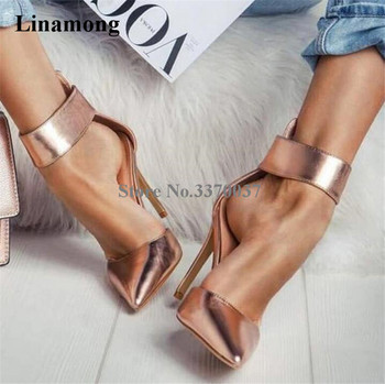 Linamong New Fashion Women Pointed Toe Stiletto Thin Heel Pumps Ankle Strap Buckle Gold Silver High Heels Formal Dress Shoes