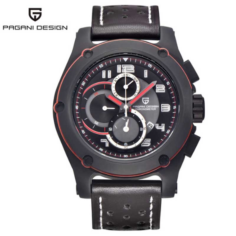 2017 Mens Watches Brand Luxury PAGANI Men Military Sport Luminous Wristwatch Chronograph Leather Quartz Watch Relogio Masculino mens watches top brand luxury jedir quartz watch chronograph luminous clock men military sport wristwatch relogio masculino