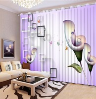 Beautiful Photo Fashion Customized 3D Curtains purple curtains 3D Curtain Printing Blockout Polyester