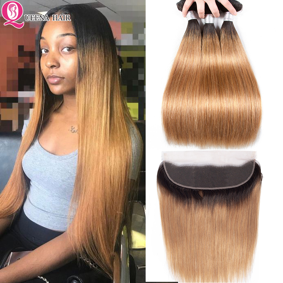 QUEENA Ombre Straight Hair Blonde Bundles With Frontal Closure 1B/27 Peruvian Straight Remy Hair Weave Lace Frontal And Bundles