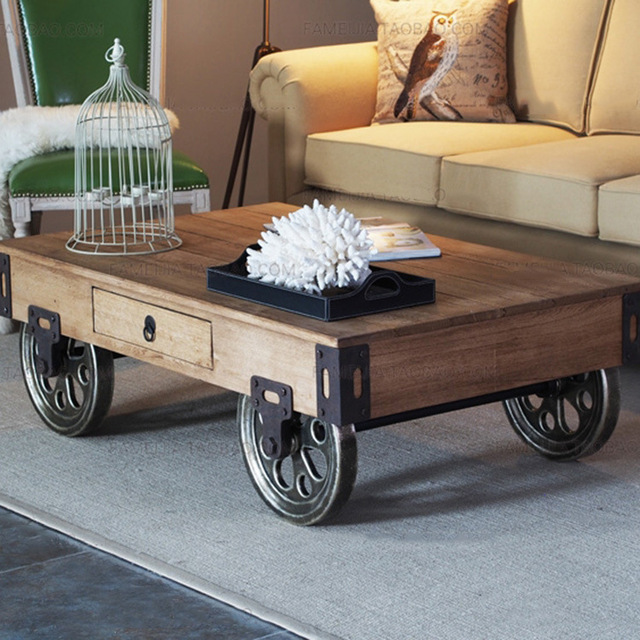 2017 American Country With A Wheel Coffee Table Wood Models Creative Iron