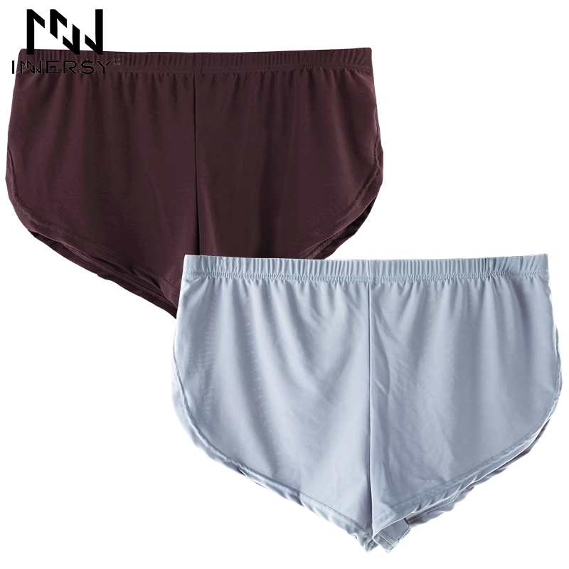 Innersy Brand 2 Pieces/lot Boxer Solid Boxer Short Man underwear Silky soft underpants Male Boxer Long Homewear Men Boxer Summer