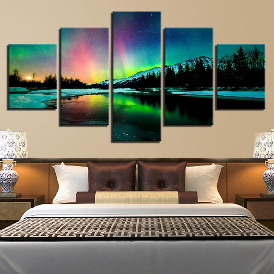Gemälde Wohnzimmer, leinwand gemälde wohnzimmer decor hd drucke bilder 5 stücke aurora, Design ideen