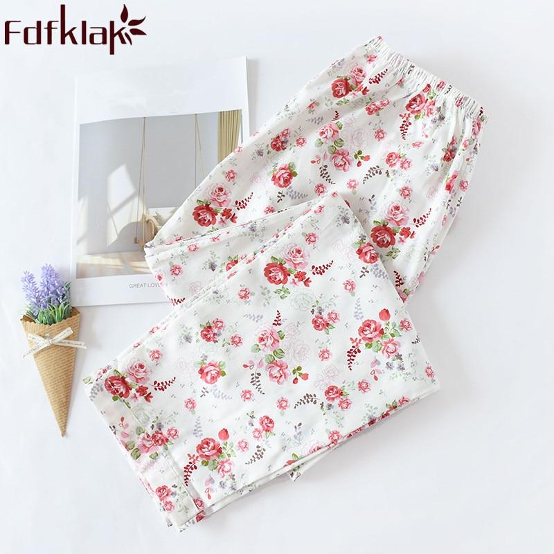 Fdfklak Spring Summer Bottoms For Women Pajamas Pants Lounge Wear New Product 2019 Ladies Pajamas Pants Plus Size XL-3XL Q1225