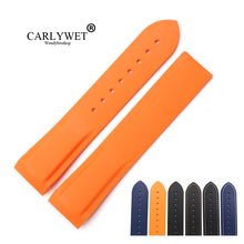 CARLYWET 20 22mm High Quality Rubber Silicone Replacement Wrist Watch Band Strap Belt Loops For Omega Planet Ocean 45 42mm