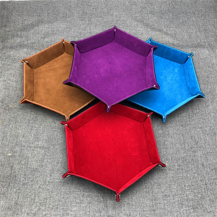 5 Colors Dice Keeper PU Leather Tray Soft Velvet Foldable Tray Favorites Leather Storage Dice Keys Coins Box For Board Game