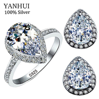 YANHUI Original Pure 925 Silver Water Drop Jewelry Bijoux Sets Natural Cubic Zirconia Oval Rings Pendientes