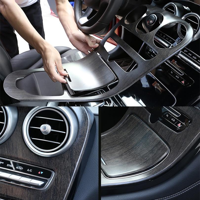 2pcs ABS Oak Wood Style Center Console Panel Decoration Cover Trim For Mercedes Benz C Class W205 GLC X253 2015-2019