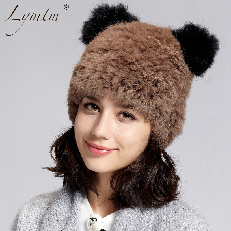 [Lymtm] Cute Bear Ear Rabbit Fur Winter   Beanie   Hats For Women Keep Warm Knitted Caps Thick Female Headgear   Skullies     Beanies