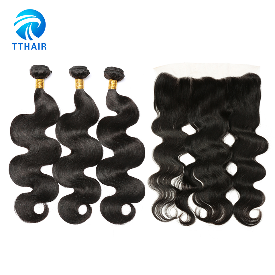100 Human Hair Extensions Virgin Hair Brazilian Body Wave 3 Bundles With Closure With 13 4