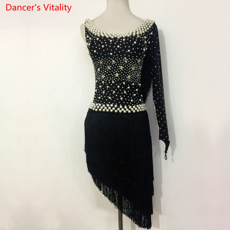 Kids Latin Dance Performance Dress Diamond Beads Tassel Dress Women Girls Latin Ballroom Tango Salsa Dance Competition Clothes