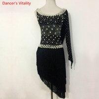 Kids Latin Dance Performance Dress Diamond Beads Tassel Dress Women Girls Latin Ballroom Tango Salsa Dance Competition Clothes