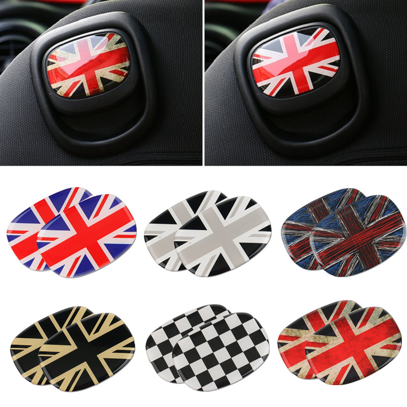 3D Crystal Epoxy Car Rear Seat Back Handle Decal Cover Union Jack Sticker For Mini Cooper F56 Hatchback 2014 2015 2016 2017