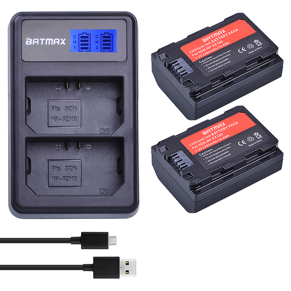 2pc NP-FZ100 NP FZ100 Camera Battery +LCD Dual USB Charger for NPFZ100 ,Alpha9, A9, Alpha9R, A9R Camera